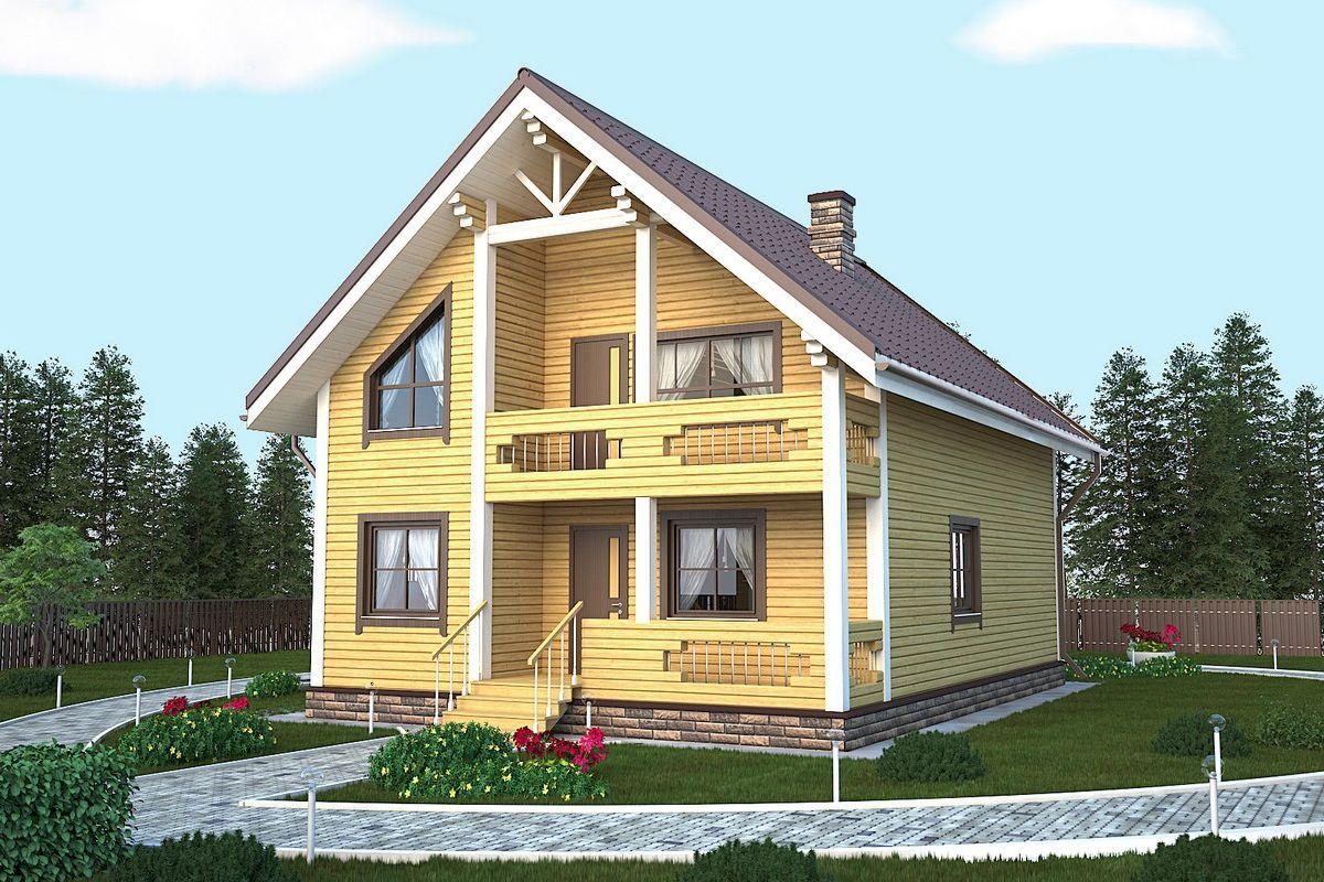 "Проект дома из бруса 8х9 с балконом - фото, цена москва ""мас."